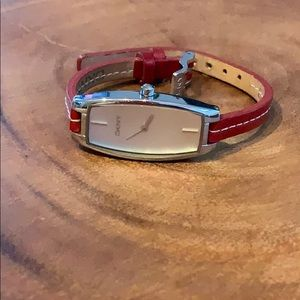DKNY Watch With Red Leather Band